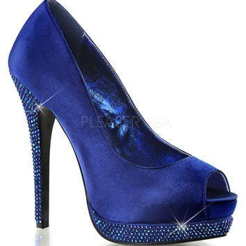 Fabulicious Bella Peep Toe Navy Blue Satin Pumps