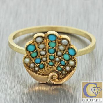 antique art deco 14k yellow gold turquoise seed pearl palm leaf conversion ring