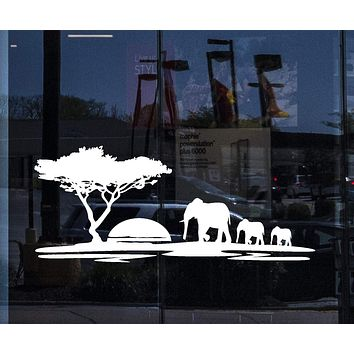 Window Decals And Wall Stickers Elephant African Animals Landscape Tree Mural Unique Gift ig1918w
