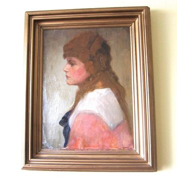 Antique Oil on Canvas Portrait Painting by William Jordan (1844 - 1940)
