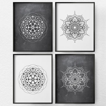 Mandala Art, Mandala Print, Black and White Art, Minimalist Art, 4 Set Mandala Wall Art, Modern Decor, Living Room Art, Geometric Art, 0366