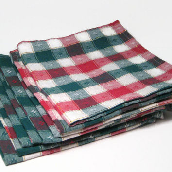 Bistro Cloth Table Napkins, Red, White, Green, Gold Pin Stripe, Check, Cloth Dinner Napkins, Christmas
