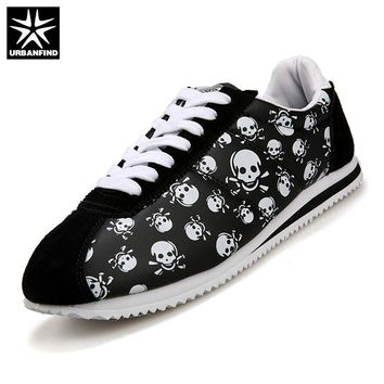 URBANFIND 2017 Men Shoes Man Sneaker Size 38-44 Casual Fashion Shoes for Men Boy with Skull Heads Print and Pot Design Flats