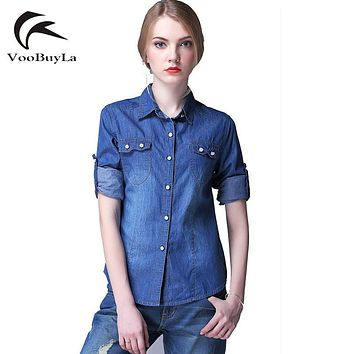 VooBuyLa Fashion Plus Size 4XL 5XL 6XL Denim Shirt Women Long Sleeve Turn-Down Collar Blouse Jeans Female Jean Shirts For Ladies