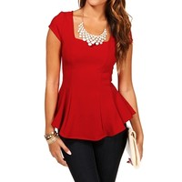 Red Fitted Peplum Top