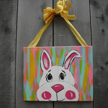 Easter canvas painting door hanger Easter door hanger Bunny Acrylic painting 8 x 10 Easter door hanger Canvas door art ©Jack Jack's Wayart