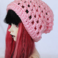 SD clothes BJD Crochet Light pink pastel pink slouchy beanie MonstroDesigns