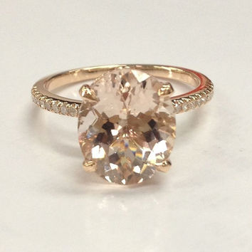 Morganite Engagement Ring in 14K Rose Gold!9x11mm Oval Cut 4.5ct 82254ab19bef