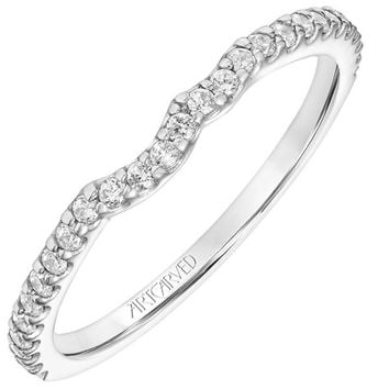 """Artcarved """"Bluebelle"""" Shared Prong Curved Diamond Wedding Band"""