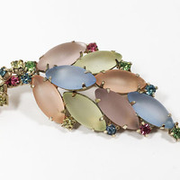 Pastel Frosted Glass Brooch Navette & Round Cut Rhinestones Vintage 1960s 1970s Sparkling Pastel Pink Blue Yellow Orange Spring Summer Leaf