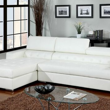 Floria modern style white bonded leather Sectional sofa with adjustable headrests and tufted seats with chrome legs