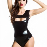Catsuit 2017 New Arrive Shiny Latex Wet Look Tank Bodysuit Sleeveless hollow Out Playsuit Sexy Overalls for Women Rompers