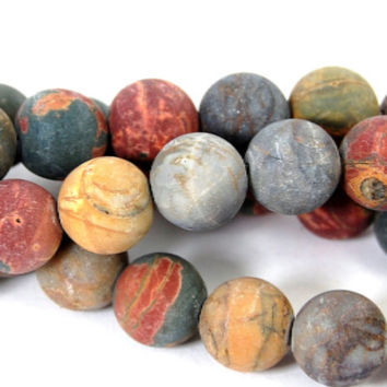 Matte Red Creek Jasper 10mm smooth round -15 inch strand