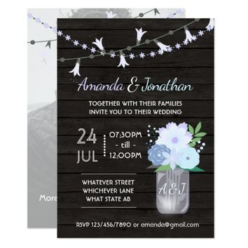Rustic backyard mason jar Wedding add photo Card