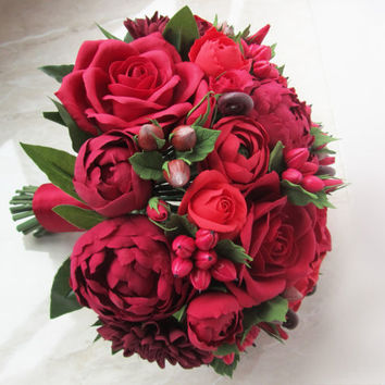 burgundy, deep red bouquet with peonies, roses and dahlias, wedding bouquet