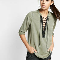lace-up silky soft twill long-sleeve shirt