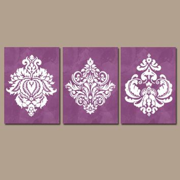 Purple Bedroom Wall Art, Canvas or Prints, Watercolor Decor, Purple Bathroom Decor, Damask Design Wall Decor, Purple Home Decor, Set of 3
