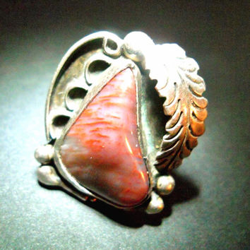 Vintage Sterling Silver Ring Bloodstone Southwestern Red Brown Signed sz 5.5 - 6