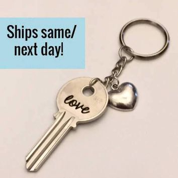 Love Keychain, Long Distance Friendship, Long Distance Relationship, Key Keychain, Engraved Key, Christmas Gift, Stocking Stuffer