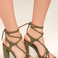 Ophelia Olive Suede Lace-Up Heels