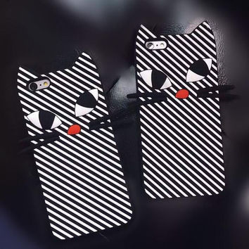 New Cute 3D Zebra Strip Black Cat Cartoon Capa Soft Silicone Phone Cases Cover For iPhone 7 7 Plus -0322