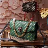GUCCI WOMEN'S 2018 HOT STYLE LEATHER INCLINED SHOULDER BAG