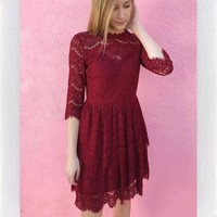 ORNAMENTS LACE DRESS- RED from shopoceansoul