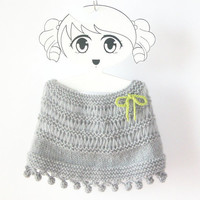 Mohair Baby Poncho / Hand Knit Girl Wrap / Gray Toddler Capelet / Custom Kid Cape / Made To Order