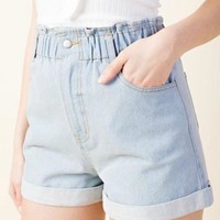 High Rise Paper Bag Waist Denim Shorts