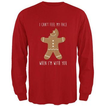 DCCKU3R Christmas Gingerbread Man Can't Feel My Face Mens Long Sleeve T Shirt