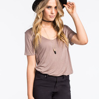 Full Tilt Essential Womens Tried & True Tee Taupe  In Sizes