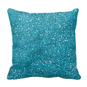 Stylish Turquoise Blue Glitter Pillow