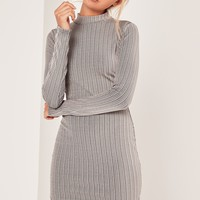 Missguided - Roll Neck Curve Hem Bodycon Dress Grey