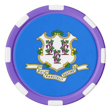 Patriotic poker chips with Flag of Connecticut