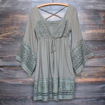 boho dress with bell sleeves in olive