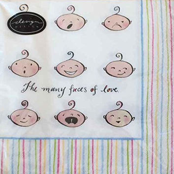 Baby Faces Pastel Stripes Luncheon Paper Napkins