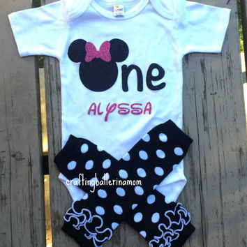 270d2fdd Minnie First Birthday Onesuit, Personalized Minnie Mouse Onesuit