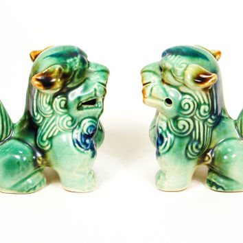 Vintage Fu Foo Dog, Chinese, Ceramic Glazed Lion, Statue, Oriental, Figurine, Green, Blue, Chinoiserie, Chic Decor