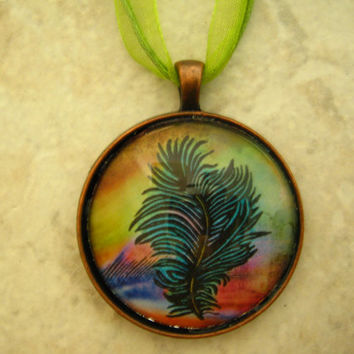 Handmade Jewelry, Sealed Glass Feather Image, Antique Copper
