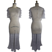 1930s Bias Cut Silk Chiffon Fish Scale Print Dress