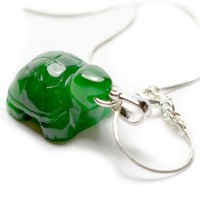 "Cute Little Turtle Green Jadeite Jade Necklace, 16 ""- Fortune Feng Shui Jade Jewelry"