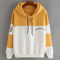 Color-block Letter Embroidered Sweatshirt With Drawstring