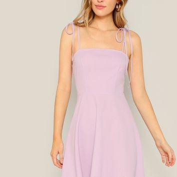Solid Tie Shoulder Cami Skater Dress