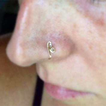 Gold Faux Nose Ring Cuff with Black & Crystal Glass by bijoufish