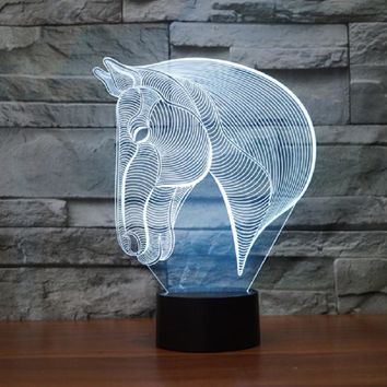LED 3D Horse Table Lamp