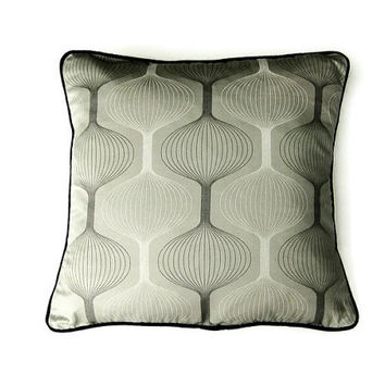 Geometric, graphic design, gray, charcoal, white and black cushion, throw pillow, homeware decor, 18 x 18 inches.