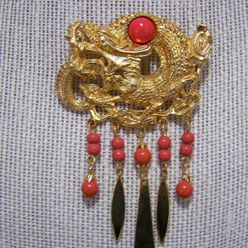 Signed ART Asian Dragon Pin, Faux Coral Beads Dangles,Arthur Pepper Figural Brooch, Mid Century Jewelry, Fashion Costume Jewellery 118s