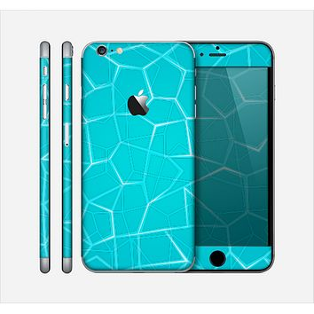 The Blue Translucent Outlined Pentagons Skin for the Apple iPhone 6 Plus