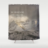 The Mountains are calling, and I must go. John Muir. Vintage. Shower Curtain by Guido Montañés