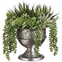 Faux Echeveria Agave & Pearl Succulent Arrangement in Urn